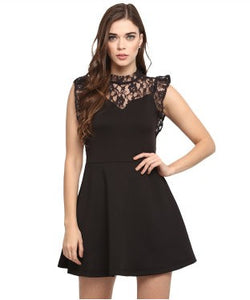 Miway Black Solid Skater Dress
