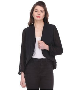 Glam a gal black 3/4 sleeve open jacket
