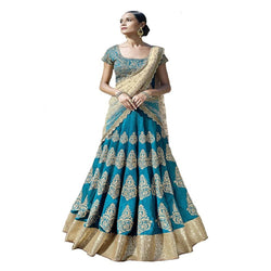 Muta Fashions Women's Semi Stitched Cotton Silk Sea Green Lehenga $ LEHENGA159