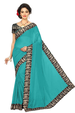 16to60trendz Turquoise Chanderi Lace Work Chanderi Saree $ SVT00067