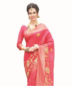Laethnic Pink Art Silk Saree