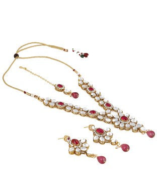 Aradhya Brass Jewel Set (Gold, Pink)