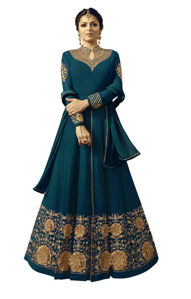 YOYO Fashion Georgette Anarkali Semi-Stitched salwar suit $F1296-Turquoise