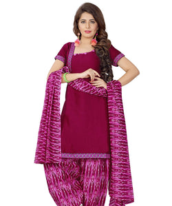 Minu Suits Magenta Cotton Salwar Suits Sets Dress Material Freesize,Satinpatyala_6011