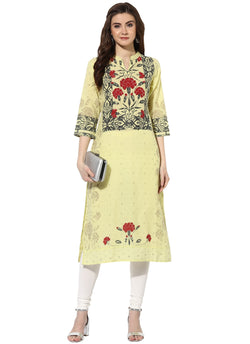 Mytri Women's Yellow & Red Cambric Printed Straight Kurta $ 9000482-YELLOWRED