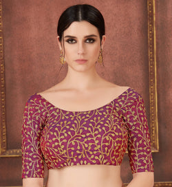 Manvi Fashion Maroon Color Embroidery Work Two Ton Silk in Fabric Party Wear Readymade Blouse $ MF 3113