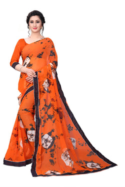 YOYO Fashion Georgette Orange Printed Saree With Blouse $YOYO-S-SARI2628