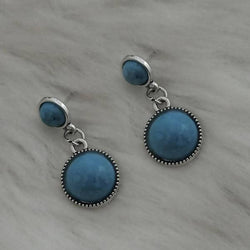 Tanishka Fashion Silver Plated Blue Turquoise Stone Dangler Earrings $ 1310872D
