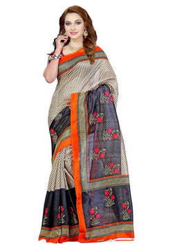 16TO60TRENDZ Black Color Printed Bhagalpuri Silk Saree $ SVT00426