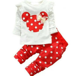 Cute Minnie Printed Bear Top & Bottom Set For Baby Kids_Red & White $ CP-KA18