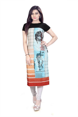 Manvi Fashion Women's Designer Partywear Multi Color American Crepe Fabric Digital Printed Readymade Kurti $ MF 2841