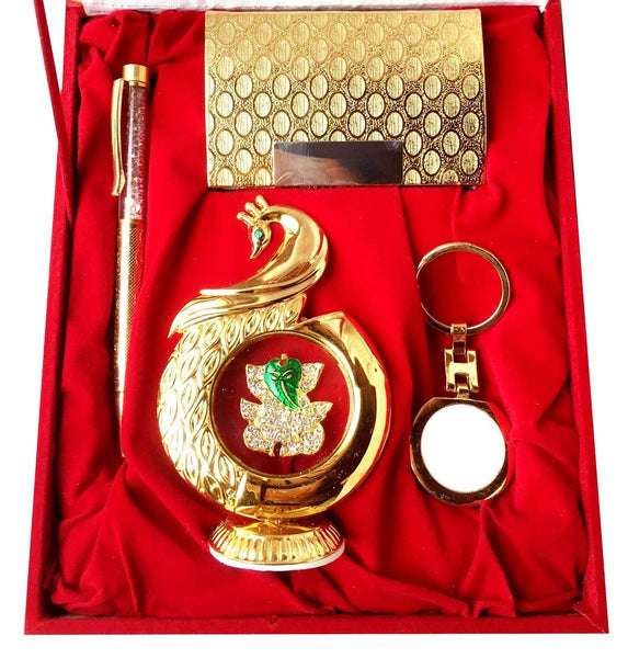 Gold Plated Ball Pen with Visiting Card Holder with Key Ring and Peacock Ganesh God Idol Car Dashboard and Home Temple with Velvet Box $ IGSPBR101051