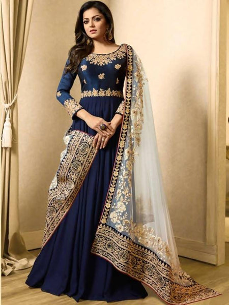 YOYO Fashion  Latest Fancy Semi-stitched Faux Georgette Embroidered Anarkali Salwar Suit $ F1251