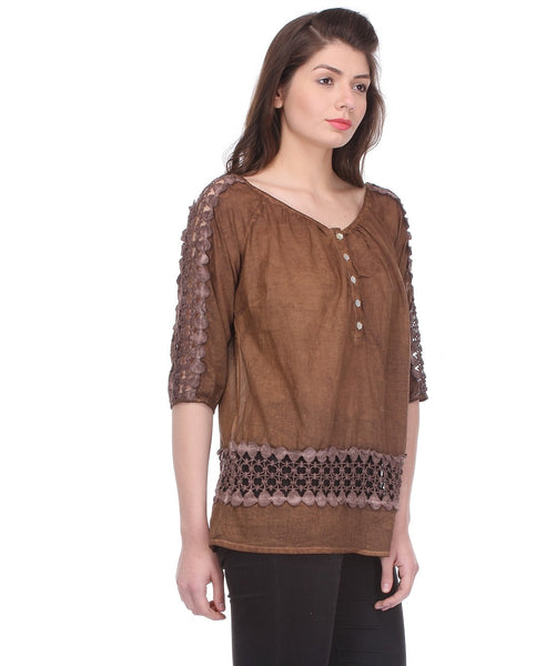 Glam a gal brown 3/4 sleeve top