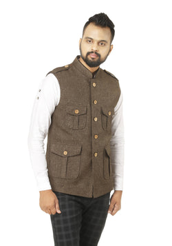 Singhal Fashion Jute Brown Color Sleeveless Hunting Jacket