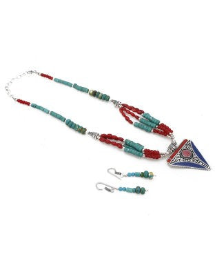 Aradhya Silver, Stone, Enamel, Glass Jewel Set (Multicolor)