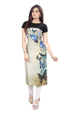 Manvi Fashion Women's Designer Partywear Multi Color American Crepe Fabric Digital Printed Readymade Kurti $ MF 2840