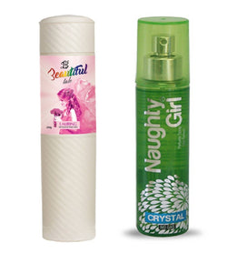 BEAUTIFUL TALC 250gm LAURING & Naughty Girl CRYSTAL 135 ml (Set of 2 for Women)