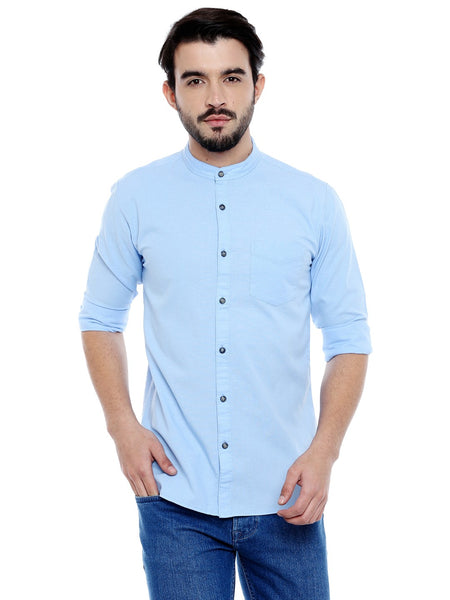 Roller Fashions Men's Solid Casual Light Blue Shirt $ C3SWLB-P