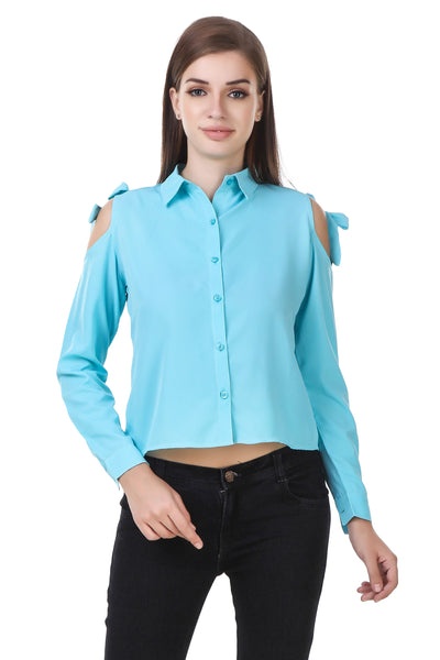 Fashians Shoulder Cut Full Sleeve sky Shirt $ FS-1700030