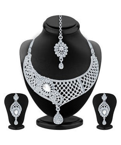Sukkhi Intricately Crafted Rhodium Plated AD Necklace Set For Women