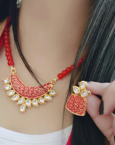 Ankita Fashion Gold Plated Beads Geet Red Pendant set $ AF78861258