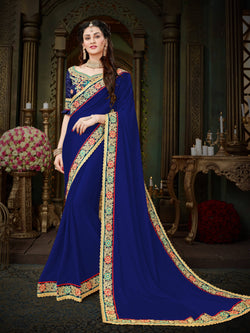 Fashion Zonez Zari Embroidered with lace border Georgette Blue Designer Saree With Blouse $FZ 1997