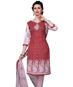 Minu Suits Red Cotton Salwar Suits Sets Dress Material Freesize,Redbeauty16_16014