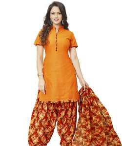 Minu Suits Orange Cotton Salwar Suits Sets Dress Material Freesize,Patialabonanza2_2008