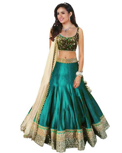 Muta Fashions Women's Semi Stitched Bangalory Cotton Sky Blue Lehenga $ LEHENGA57