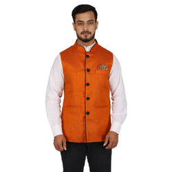 Singhal Fashion Orange Jute Nehru Jacket