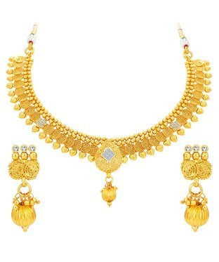 Sukkhi Glittery Jalebi & Invisible Setting Gold Plated Necklace Set For Women