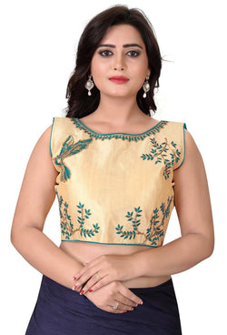 YOYO Fashion Beige Malbari Embriodered Extra Sleeve With Blouse $ YOYO1-BL4009-Turquoise