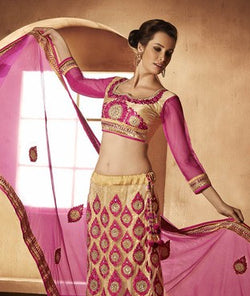 Net and Brocade Lehenga Set