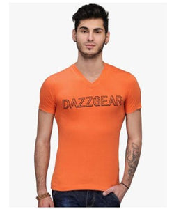 Dazzgear Men's Orange V Neck MTV-60 T-Shirt
