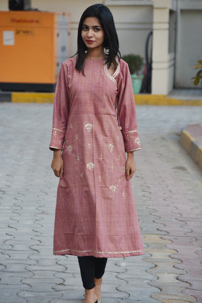 Pink Khadi Cotton Traditional Gotta Patti Kurta $ IWK-000671