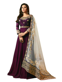YOYO Fashion Blue Faux Georgette Anarkali Salwar Suit & YO-F1251-Purple