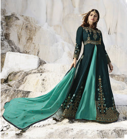 YOYO Fashion Viscose Satin Peacock Embroidered Semi-stitched Anarkali Salwar Suit $ YO2-F1263