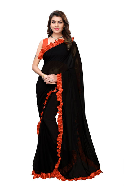 YOYO Fashion Georgette Plain Black saree with Blose $ SARI2654-Orange