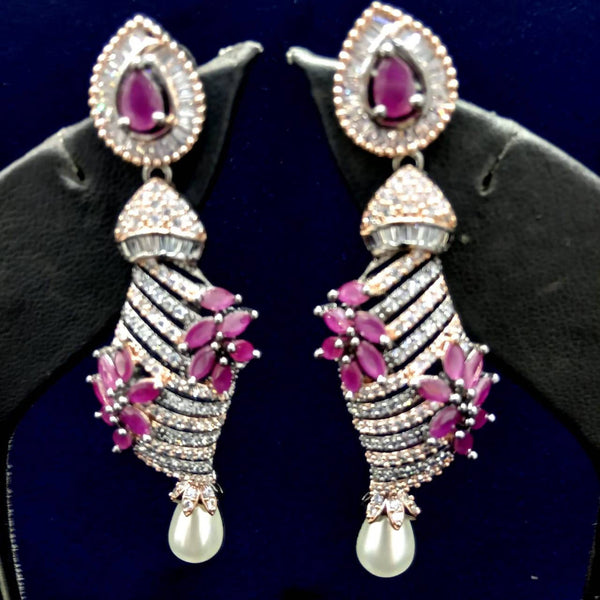Gaurik Designer Earrings with white american diamonds & pink color stones $ Nilu_Jewel_140