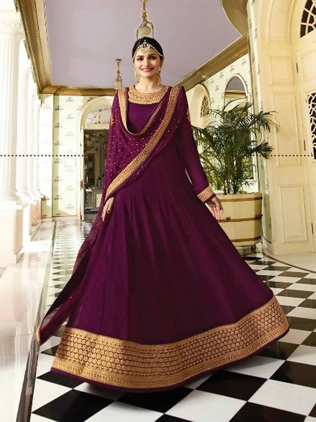 55d7644e208 ... YOYO Fashion Latest Fancy Semi-stitched Faux Georgette Embroidered  Anarkali Salwar Suit Gown   YO ...