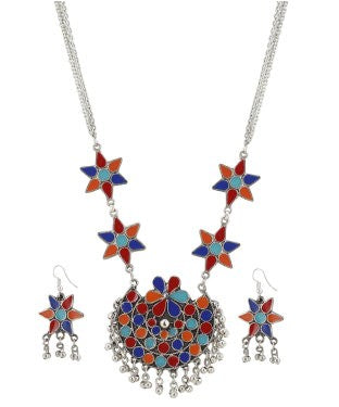 Aradhya Enamel, Silver Jewel Set (Multicolor)