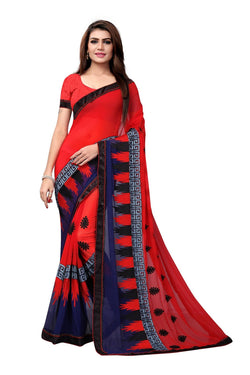 YOYO Fashion Embroidered Georgette Red Saree With Blouse $ YOYO-SARI2615-Red