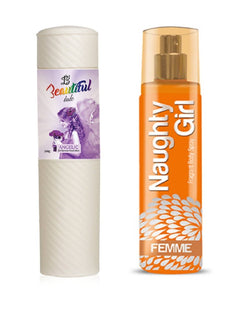 BEAUTIFUL TALC 250gm ANGELIC & Naughty Girl FEMME 135 ml (Set of 2 for Women)