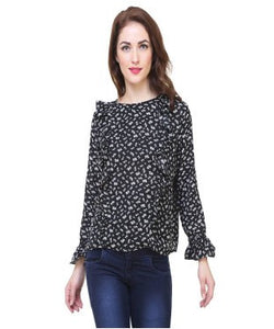 Redpose Printed flared long sleeves casual top