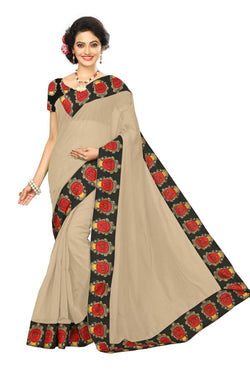 16to60trendz Beige Chanderi Lace Work Chanderi Saree $ SVT00090