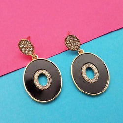 Tanishka Fashion Black Enamel Gold Plated Austrian Stone Dangler Earrings $ 1314116B