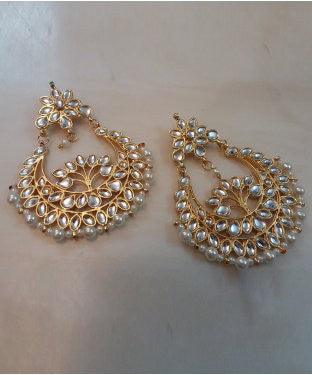 Aradhya Pearl Copper, Alloy, Stone Chandbali Earring