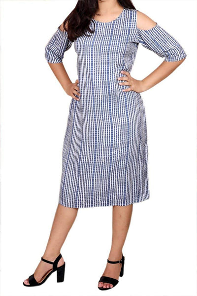 Libas Closet Fusion Women's Western A-Line Handloom Cotton Dress with Back Button $ Libas Closet-004