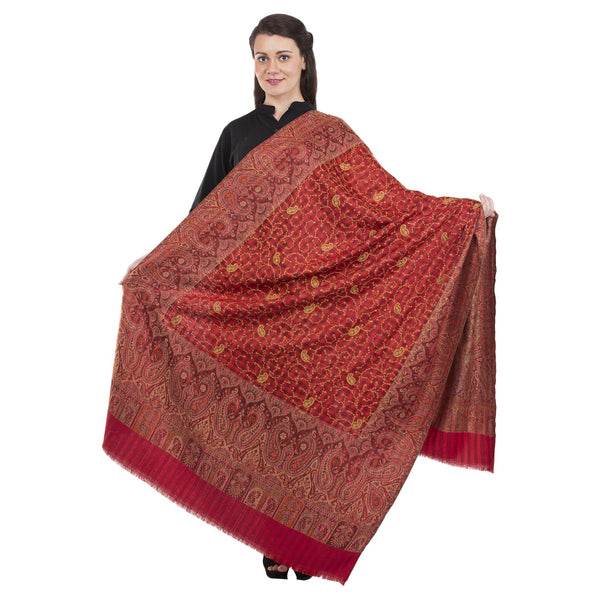 La Vastraa's Full Thread Work Jaal Women's Jamawar Palla Red Shawl-HKS0098